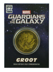 Guardians Of The Galaxy Groot Antique Gold Coin 38mm Commemorative Marvel