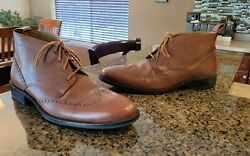 Menand039s Brown Leather Cole Haan Dress Office Lace Up Wing Tip Boots 12 Nice