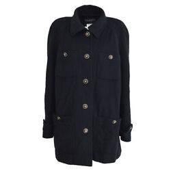 95a 38 Cc Single Breasted Long Sleeve Jacket Black Cashmere Gs01971b