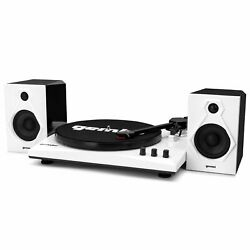 Gemini Tt-900bw Vinyl Record Player Turntable W/bluetooth And Dual Stereo Speakers