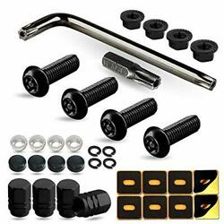 Black Anti Theft License Plate Screws- Stainless Steel Security Car Tag Bolts -