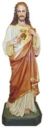 Sacred Heart Of Jesus Plaster Statue, Tall, Antique, Religious 5581