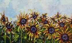 Large Contempory Painting Sunflower Painting Ready To Hang Wall Art