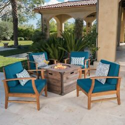 Belle Outdoor 4 Seat Fire Pit Chat Set With Teak Finished Acacia Wood Club Chair