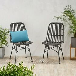 Yilia Outdoor Wicker Dining Chair Set Of 2