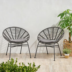 Cohen Outdoor Wicker Dining Chair With Cushion Set Of 2