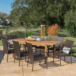 Delilah Outdoor 9 Piece Wicker Dining Set With Wood Expandable Dining Table