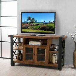 Breeden Farmhouse Glass Doors Cabinet And Shelves Tv Stand