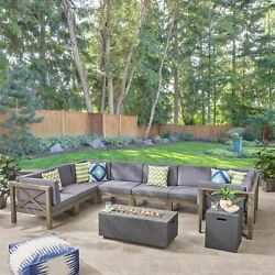 Cytheria Outdoor Sectional Sofa Set With Fire Pit 10-piece 8-seater Acacia Woo