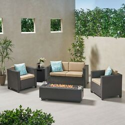 Aaliyha 4 Seater Wicker Chat Set With Fire Pit