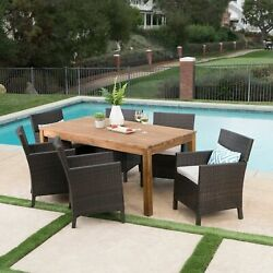 Lilith Outdoor 7 Piece Multibrown Wicker Dining Set With Teak Finished Acacia