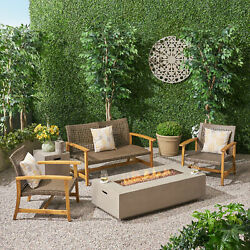 Allison Outdoor 5 Piece Wood And Wicker Chat Set With Fire Pit