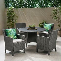 Cassie Outdoor Wicker Dining Chairs With Water Resistant Cushions Set Of 4