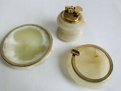 Set Of3 Vintage Onyx With Gold Lighter, Ashtray And Bowl Jewellery/soap Tray