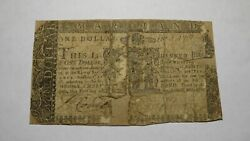 1 1767 Annapolis Maryland Md Colonial Currency Bank Note Bill One Dollar Rare