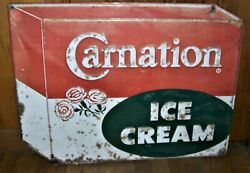 Authentic Vintage Carnation Metal Ice Cream Sign