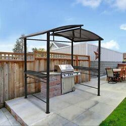 Eagle Peak 8and039x5and039 Bbq Grill Gazebo Outdoor Backyard Canopy With Steel Frame