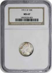 1911-d Barber Silver Dime Ms67 Ngc