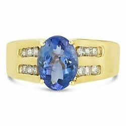 Levian 14k Yellow Gold Oval Tanzanite And 2/5 Cttw Diamond Ring - Size 6-1/2