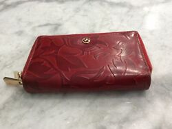 VALENTINA Italian Leather Red Wallet New Made in Italy Zip Around $125 NEW $67.00