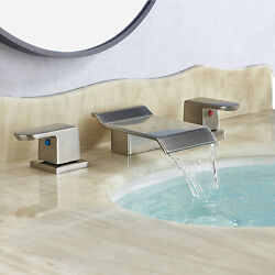 Brushed Nickel Bathroom Faucet Waterfall 8widespread Basin Sink 3hole Mixer Tap