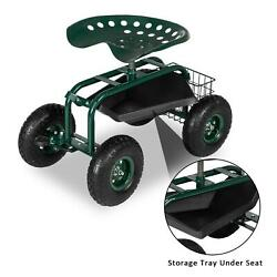 Rolling Garden Cart With 360-degree Swivel Seat And Tool Tray - Green