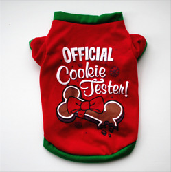 Pet Clothes Christmas Bone Cookies Printing T Shirt Red Cotton Shirt Small Dogs
