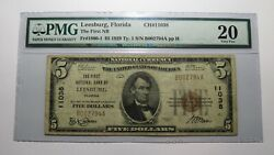 5 1929 Leesburg Florida Fl National Currency Bank Note Bill Ch. 11038 Vf20 Pmg