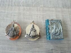 3 Old Glass Rosary Boxes Child Of Prague/maria With Glass Rosaries
