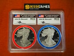 1986 S 2016 W Proof Silver Eagle Pcgs Pr70 Mercanti Signed Mint Engraver Series