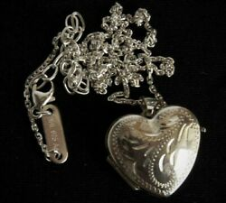 Antique Vintage Medallion Heart Chain Italy 925 Sterling Silver Jewelry Necklace