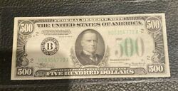 Fr. 2202-b 1934a 500 Federal Reserve Note New York Circulated Xf 8/19