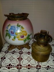 Antique Floral Gwtw Made Usa Oil Banquet Parlor Lamp W/ Canister Font No Shade