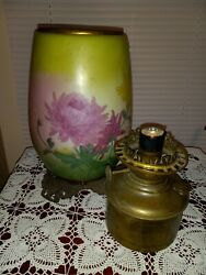 Antique Floral Gwtw Success Center Oil Banquet Lamp W/ Canister Font No Shade