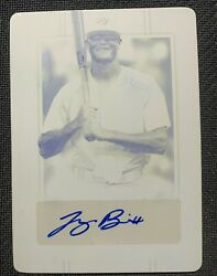 Logan Britt Game Used Lot Printing Plate And Game Worn Patch Autograph Signed