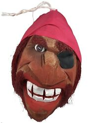 Vintage Carved Coconut Red Bearded Pirate Head With Bandana Eye Patch Brown Eye