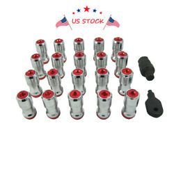 Red 20 Pcs M12x1.5 Extended Dust Cap Steel Wheel Rim Lug Nuts With Lock Key Usa