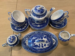 Vintage 1950s 1960's Childs Tea Set Blue Willow Pattern 26 Made In Japan