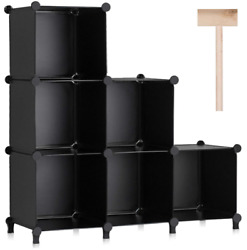 Cube Storage Organizer 6-cube Plastic Square Shelving For Home Office Bedroom