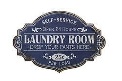Vintage Metal Decorative Wall Sign Distressed Blue Laundry Room