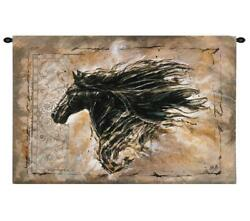 63x42 BLACK BEAUTY Horse Western Tapestry Wall Hanging