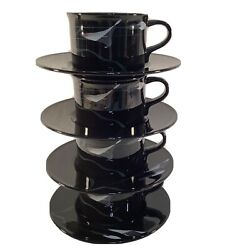 Set Of 4 Mikasa Galleria Black Opus-fk701 Calla Lily Tea Cup And Saucer Modern