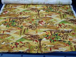 Vintage Mcm Farm House Fruit Trees Animals. Field Upholstery Fabric 1960s 1970s