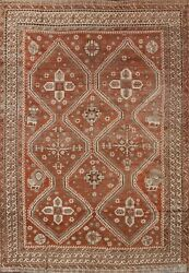 Pre-1900 Antique Vegetable Dye Abadeh Area Rug Hand-knotted Tribal Oriental 7x10