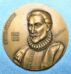 Beautiful Miguel Cervantes Bronze Medal, Circle Of Readers, By David Oliveira