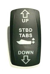 Carling Starboard Trim Tabs Up / Down White Lighted Rocker Switch Cover Stbd
