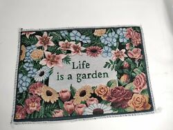 Embroidered Life Is A Garden Hanging Wall Art Tapestry Vintage 13quot;x9quot; Floral