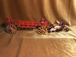 Late 1800's Large Cast Iron Horse Drawn Toy Fire Wagon Original Paint