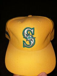 Vintage Rare Seattle Mariners Yellow Mlb Baseball Hat Drew Pearson New With Tags