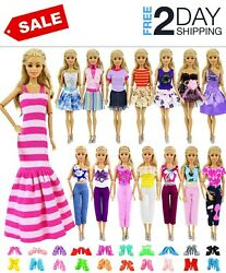 Barbie Doll Clothes Gown Outfits Accessories Girl Gift Huge Lot Party